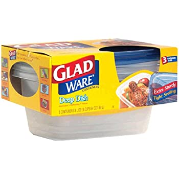 GladWare Deep Dish Containers with Lids, 8 Cups (64 oz) 3 containers