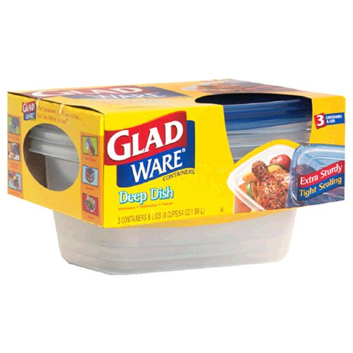 - GladWare Deep Dish Containers with Lids, 8 Cups (64 oz) 3 containers