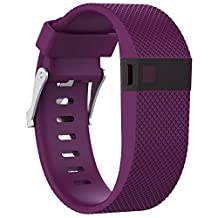 Watch Band, ABC Replacement Silicone Rubber Wrist Watch Band Strap for Fitbit Charge HR (Large) (Purple)