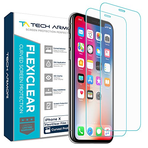 Price comparison product image Tech Armor New 2017 Apple iPhone X (iPhone 10) Screen Protector [Wet Applied] Thermoplastic Film (TPU) Complete Curved Edge Display Coverage, Bubble Free, HD Clear [2-pack]
