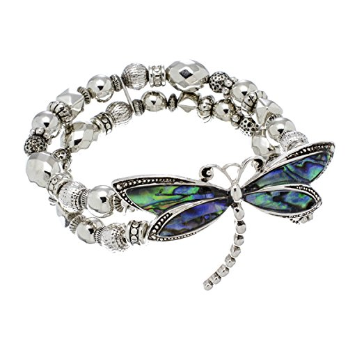 PammyJ Abalone Dragonfly Silvertone Beaded Stretch (Beaded Dragonfly)