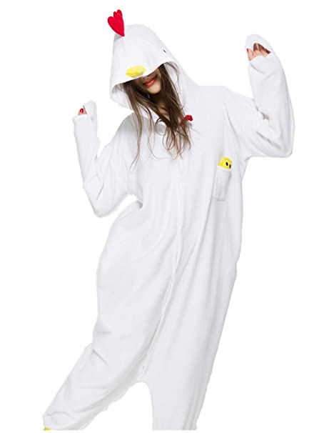 06f79a8e0bf6 Unisex Animal Halloween White Rooster One-Piece Pyjamas Jumpsuit Cosplay Costumes  Adult Womens Men S