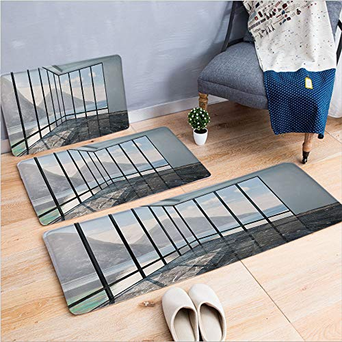 State Glass Piece 3 (3 Piece Non-Slip Doormat 3d print for Door mat living room kitchen absorbent kitchen mat,Clouds Scenery from Glass Window Photo,Black,15.7
