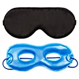 MorusStudio Sleep Mask + Cool/Warm Eye Spa Kit, Puffy/Swollen Eye Therapy, Super Soft, Organic, Breathable Mulberry Silk, Lightweight, Adjustable Strap Fit for Any Size, Block 100% Lights (Black)