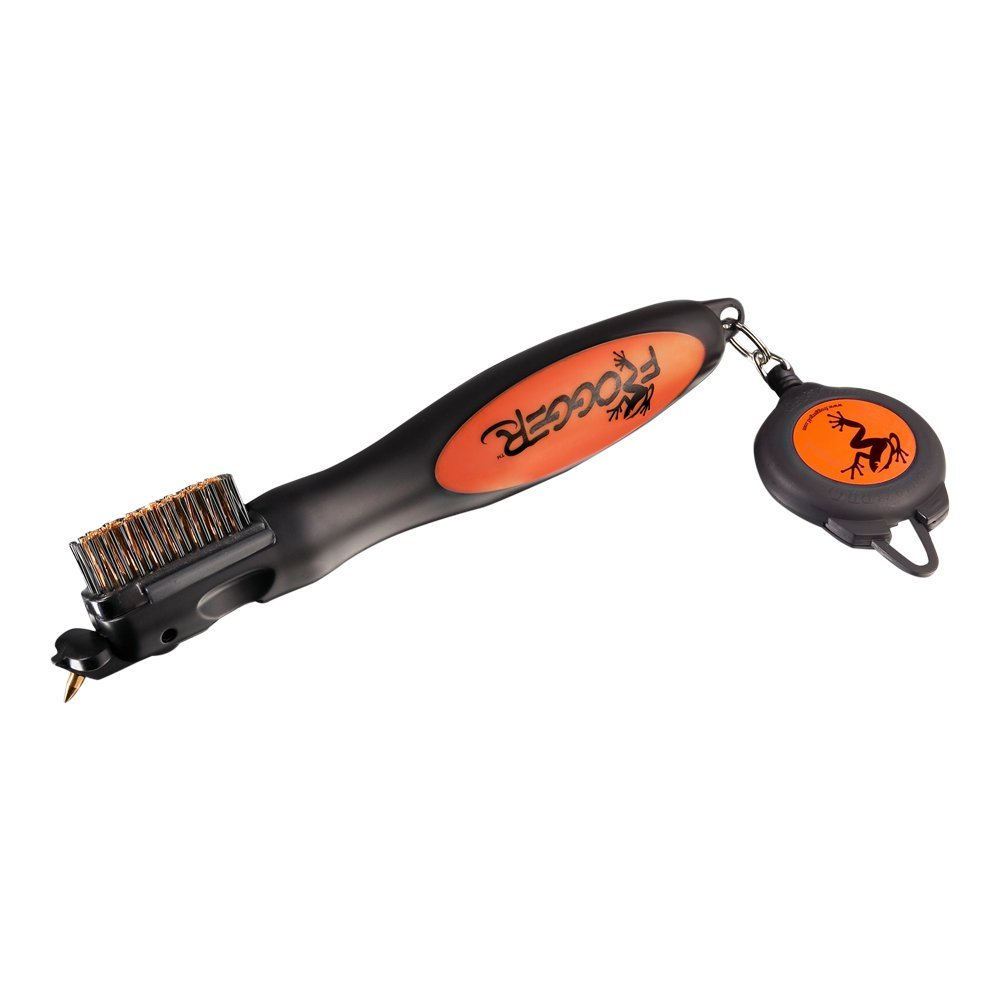 Frogger Golf BrushPro Retractable Golf Club Brush with Groove Cleaner, Orange by Frogger
