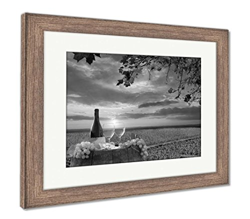 Ashley Framed Prints White Wine Barrel Vineyard Chianti Tuscany Italy, Wall Art Home Decoration, Black/White, 30x35 (Frame Size), Rustic Barn Wood Frame, ()