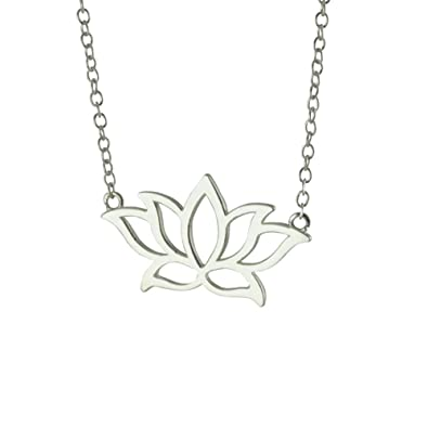 Amazoncom Apop Nyc Sterling Silver Lotus Pendant Necklace Flower
