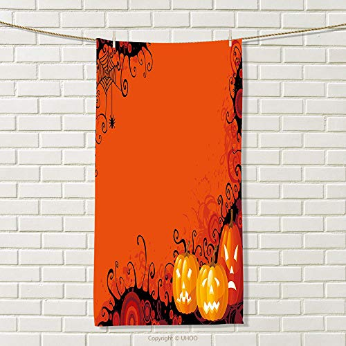 smallbeefly Spider Web Travel Towel Three Halloween Pumpkins Abstract Black Web Pattern Trick or Treat 100% Microfiber Orange Marigold Black Size: W 27.5