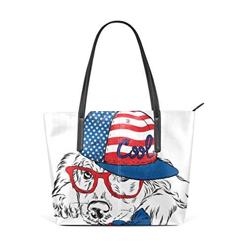 COOSUN Hipster American Dog PU Leder Schultertasche Handtasche und Handtaschen Tasche für Frauen