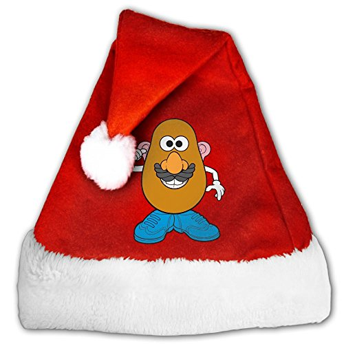 Dnieospla Mr. Potato Cool Head Print Plush Santa Claus Hat & Comfort Liner Christmas Halloween Costume