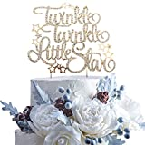 Twinkle Twinkle Little Star Rhinestone Gold Metal Cake Topper Party Decoration For Baby Shower 1st month/year Kids Birthday Party.