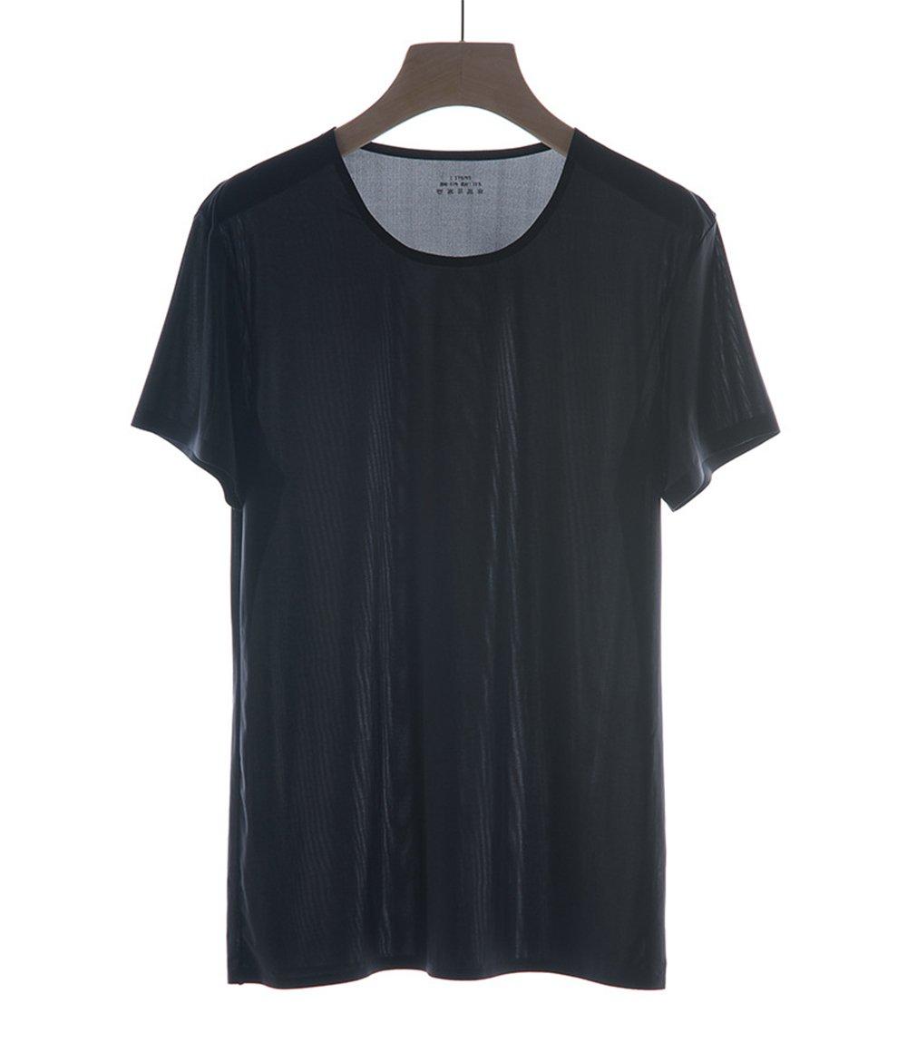 High-end Mens Short Sleeve Seamless Shirt Ice Silk Soild Tops Tee L-XXL (Black, XXL)