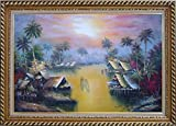 Framed Oil Painting 24''x36'' Hawaii Water Village Thatching Houses at Sunset Naturalism Stylish Frame