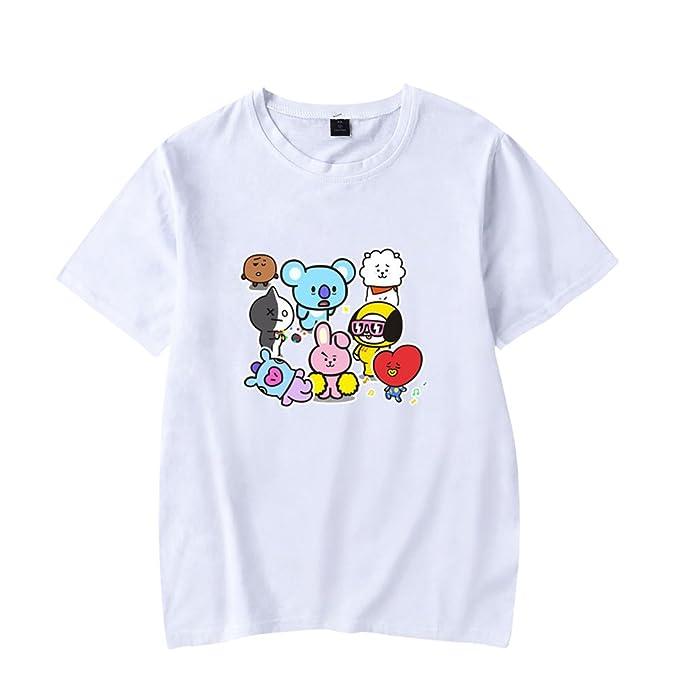 CTOOO Camiseta De Manga Corta BTS Q Versión Cartoon Cute Loose para Hombres Y Mujeres lFEHo