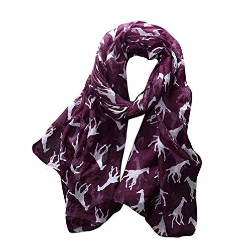 Scarves for Women, Teen Girls Cute Giraffe Print Lightweight Voile Soft Comfy Shawl Wrap Scarf (Purple)