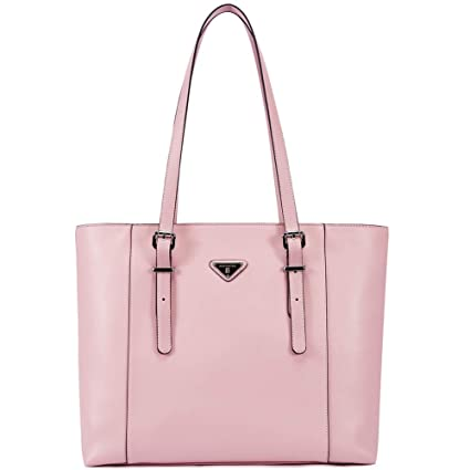 183d4192ef58 Image Unavailable. Image not available for. Color  BOSTANTEN Women  Briefcase Leather Laptop Tote Handbags 15.6 quot  Computer Shoulder Bags  Pink