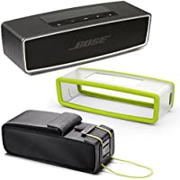 Bose SoundLink Mini II Bluetooth Wireless Speaker - Carbone w/ Energy Green Soft Silicon Cover & Travel Bag - Bundle