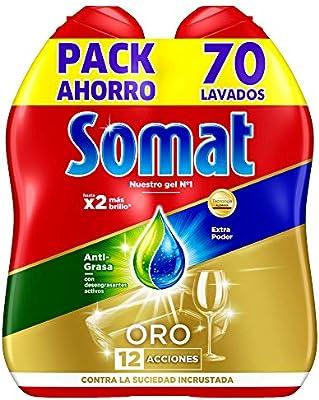 Somat Detergente Gel Lavavajillas Antigrasa 2x35D: Amazon.es ...