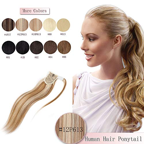 100% Remy Human Hair Ponytail Extension Wrap Around One Piece Hairpiece With Clip in Comb Binding Pony Tail Extension For Girl Lady Women Long Straight #12P613 Golden Brown&Bleach Blonde 18'' 90g (Remy Hair Human Extensions)