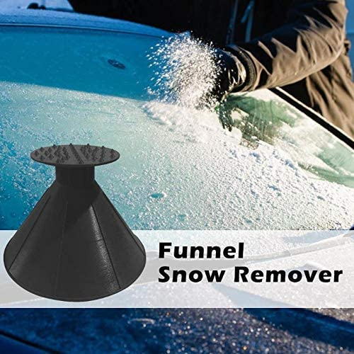 Black YYE Round Ice Scraper,Ice Breakers Car Windshield Magic Cone-Shaped Funnel Snow Removal Tool