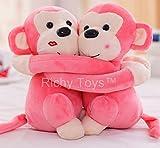 Richy Toys Monkey's Cuddly Couple Soft Toys Plush Stuffed Teddy Bear for Kids Birthday Gift (Pink)