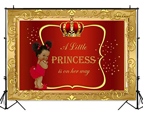 Shower Backdrop Little Girl Princess Red Gold Photography Background 7x5ft Vinyl Royal Baby Shower Party Banner Backdrops ()