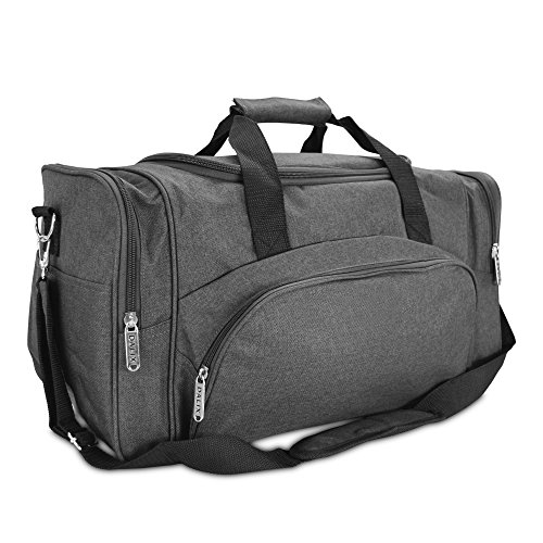 DALIX Signature Travel or Gym Duffle Bag in (Black, Gray, Navy Blue Red) (Charcoal-Black)