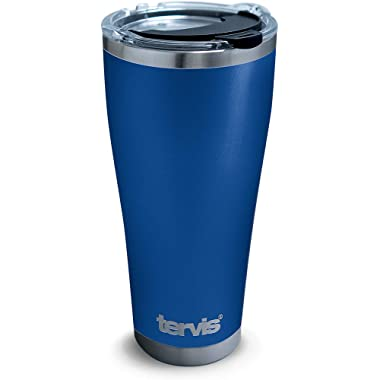 Tervis 1310291 Powder Coated Stainless Steel Insulated Tumbler with Clear and Black Hammer Lid, 30 oz, Blue