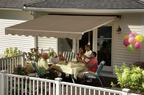 Sunsetter Awning, Motorized Retractable Awning with Nutmeg Tweed Acrylic Fabric, 20ft.