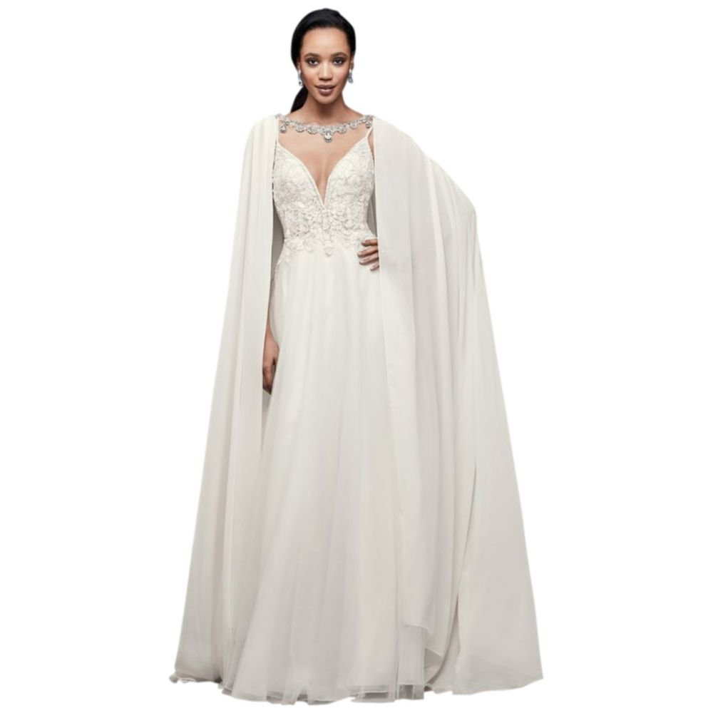 Long Chiffon Cape with Beaded Neckline Style OW2111, Ivory, ONE Size by David's Bridal