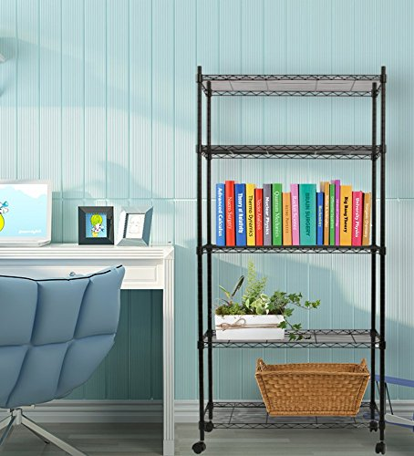5 Layer Black Commercial Shelf Steel Wired Storage Metal Shelving ()