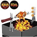 Alritz Automatic Rotating Roasting Sticks, 17 inch Battery Powered BBQ Skewers for Marshmallow, Smores, Hot Dog, Chicken, Steak | FDA Stainless Sticks Set for Outdoor Charcoal Grills Campfire
