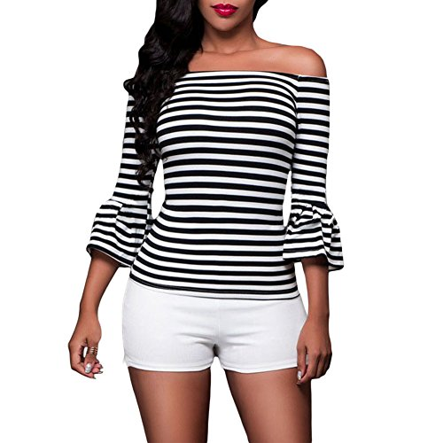 Kalin L Women Stripes Frill Sleeve Off the Shoulder Blouse Top (L) - Frill Sleeve Dress