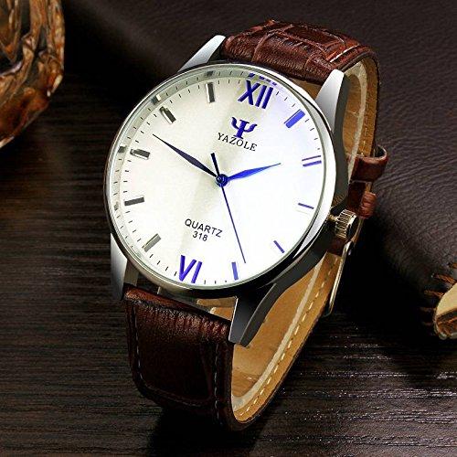 mark8shop yazole 318 Lujo Moda Cuero PU Banda Reloj de cuarzo analógico: Amazon.es: Relojes