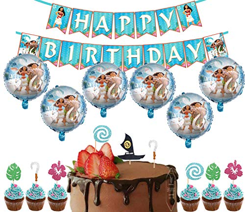 37 Pack Moana Party Supplies Set,30 Pcs Moana Inspired Cupcake Toppers,6 Foil Balloons,1 Moana Happy Birthday Banner Decorations for Family Party Decorations