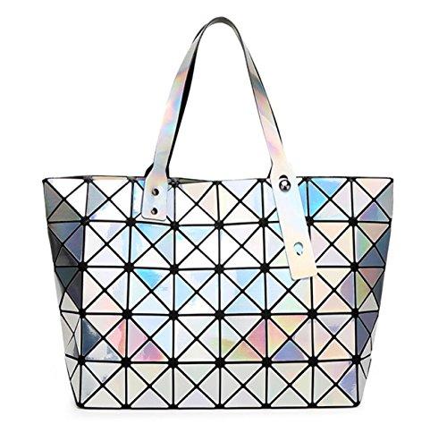 Kayers Sulliva Women's Fashion Geometric Diamond Lattice Tote Glossy PVC Shoulder Bag Top-handle Handbags by Kayers Sulliva