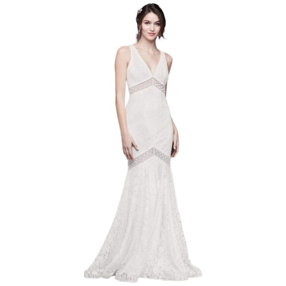 V Neck Lace Illusion Mermaid Wedding Dress Style Wg3950 At