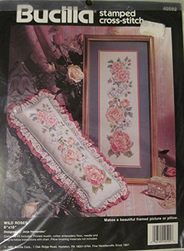 Bucilla: Wild Roses Stamped Cross Stitch Kit - Aprox. 6x18 I