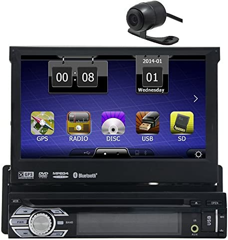 Backup Camera is Include Eincar Universal Single 1 DIN 7 inch Motorized HD Touchscreen Car Stereo Autoradio GPS CD DVD Player Receiver, Bluetooth, Detachable Front Panel Wireless Remote
