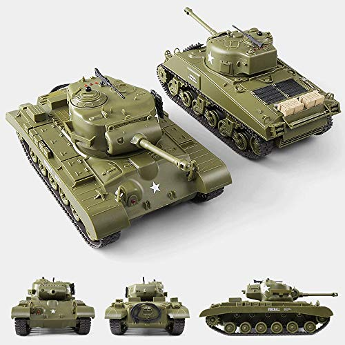 Tletiy 2 Pack Mini RC Tank with Light Sound, 2.4Ghz Rechargeable Wireless Remote Control Panzer Tank 1:30 Scale American Rotating Stunt Military Tank Toy for Adults Kids Boys Gifts