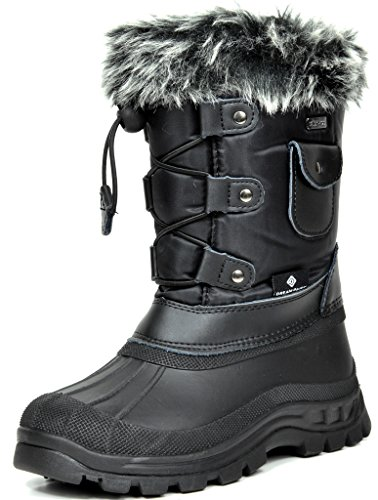 DREAM PAIRS Big Kid Ksnow Black Isulated Waterproof Snow Boots - 6 M US Big Kid