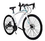 Garain Aluminum Road Bike Shimano 21 Speed 700C Hybrid Bicycle Fixed Gear Commuter Bike Racing Bicycle 26 inch Wheels, White Garain