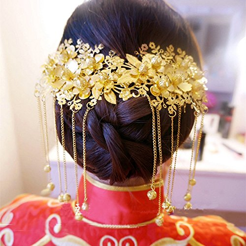 - Headdress bride classic tassel comb inserted comb dragon and phoenix gown dress Xiu wedding cheongsam costume headdress plate hair