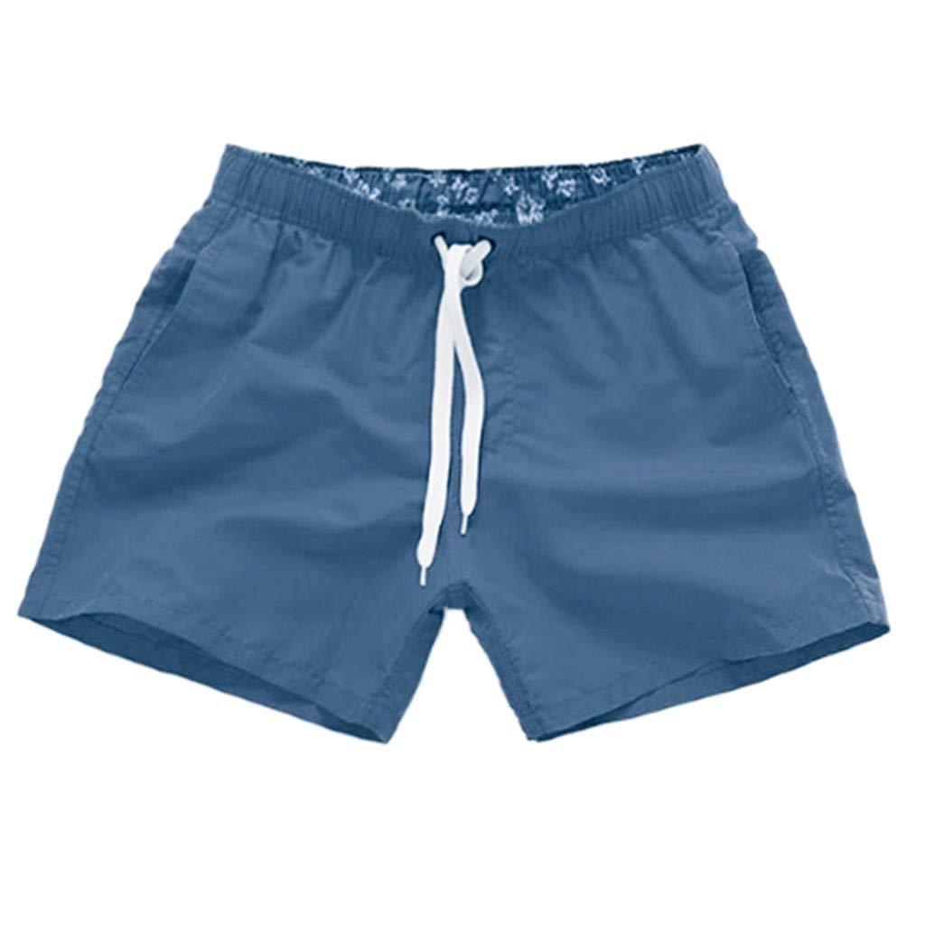 NUWFOR Men Pure Color Splice Stripe Beach Work Casual Men Short Trouser Shorts Pants(Navy,US L Waist:31.50-39.37'')