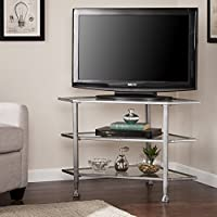 Southern Enterprises Jaymes Metal/Glass Corner TV Stand, Distressed Silver
