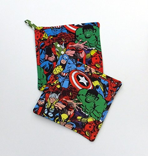 Marvel Avengers Comic Book Potholder Set of 2 by Trinnyella