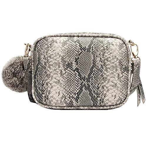(Sun Kea Fashion Women Shoulder Bag Snakeskin Leather Crossbody Bag Handbag Purse with Pompoms Decor)