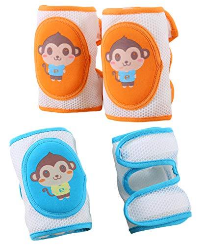 PERTTY 4Pcs Baby Knee Pads Cartoon Monkey Pattern High Elastic Adjustable Sponge Knee Brace Knee Protector for Babies Toddlers Kids