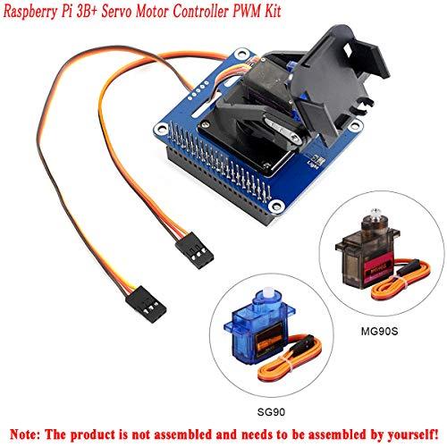 MakerFocus Raspberry Pi 3B+ Servo Motor Controller PWM Kit, 2-DOF Pan-Tilt HAT for RPi Light Intensity Sensing Control Camera Movement I2C Interface, Onboard PCA9685 Chip 12-bit PWM - Servos Tilt Pan