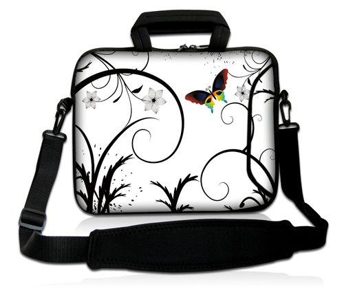Luxburg® Design Funda bandolera Blanda Bolso Sleeve para Ordenador Portátil / MacBook de 17,3 pulgadas, motivo: Peces de colores Mariposas fondo blanco